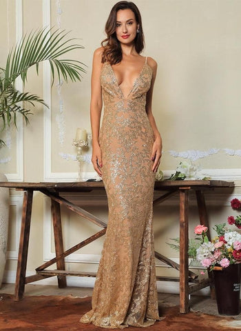 Gold Deep V-Neck Open Back Glitter Glue Bead Material Party Long Dress