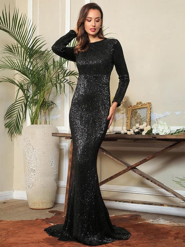 0-Neck High Waist Elastic Pleated Sequins Fishtail Shape Party Black Long Dress