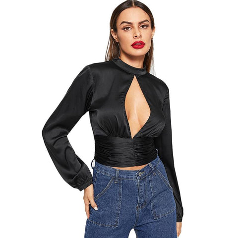 Black Open Front Mock-Neck Stand Collar Cut Out Pullovers Top