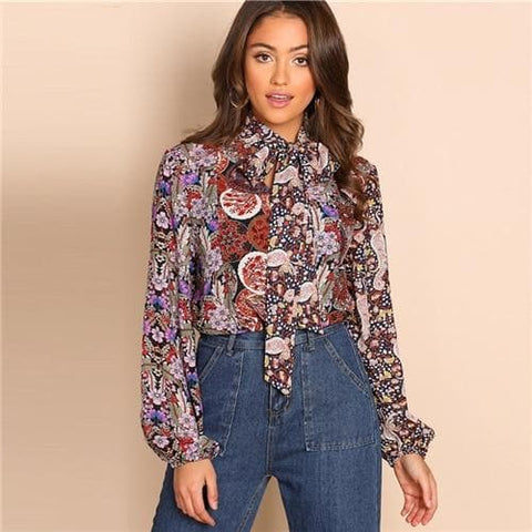 Multicolour Tie Neck Bishop Sleeve Allover Print  Stand Collar Floral Top