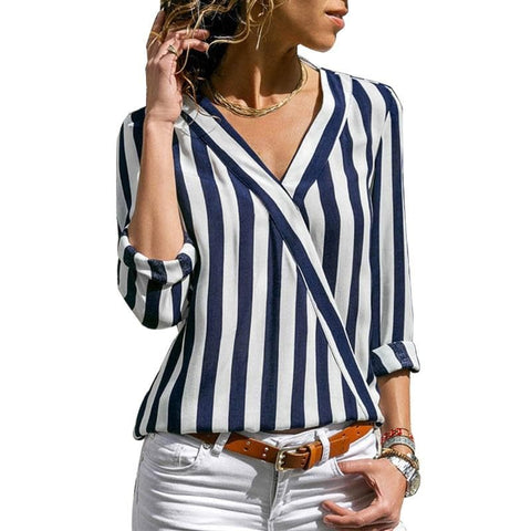 Striped Chiffon Long Sleeve Top Blouse