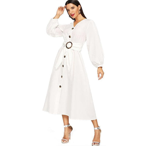 White Bishop Sleeve Button Up Self Belted Fit And Flare V Neck Dress