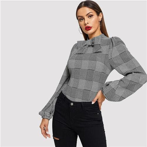 Black and White Bow Embellished Balloon Sleeve Glen Plaid Stand Collar Blouse Top