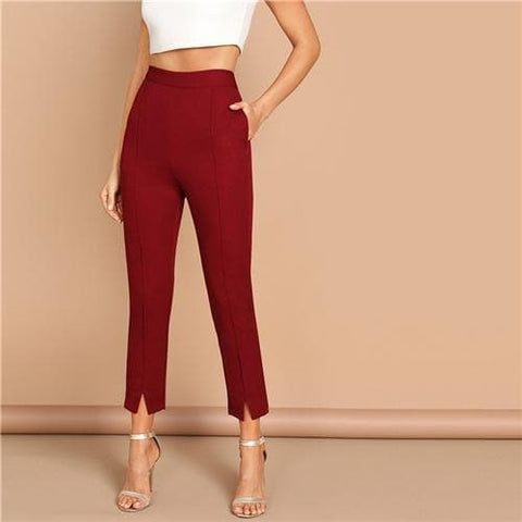 Burgundy Split Hem Zipper Mid Waist Crop Pants