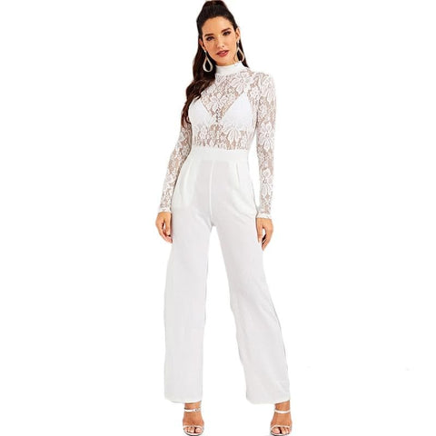 White Contrast Lace Mock-Neck Mid Waist Sheer Jumpsuit