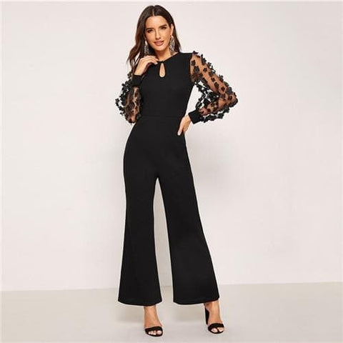 Black 3D Applique Sheer Sleeve Keyhole Front Round Neck Long Sleeve Jumpsuits