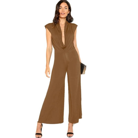 Brown Draped Plunging Neck Mid Waist Palazzo Leg Jumpsuit