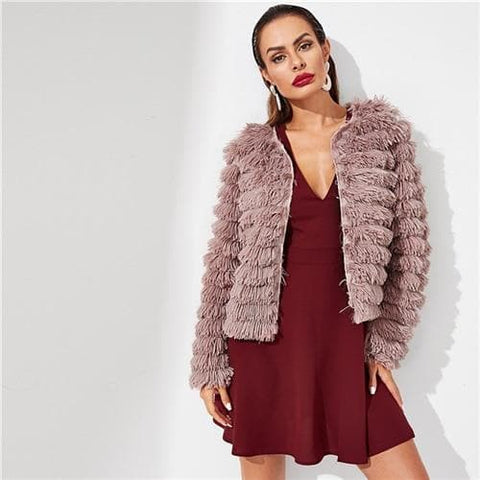 Pink Long Sleeve Open Front Layered Fringe Faux Fur Coat