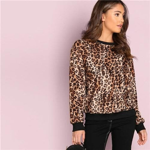 Multicolour Trim Leopard Teddy Round Neck Long Sleeve Minimalist Top