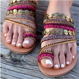 String Bead Twist Design Roman Crystal Sandals Slippers Flats