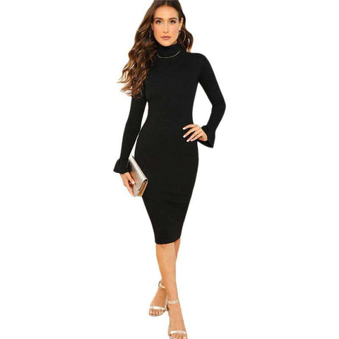 Turtleneck Flounce Long Sleeve Knitted Black Pencil Dress