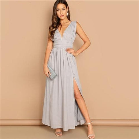Grey Elegant Deep V-neck Ruched Wide Waistband Fit And Flare Slit Dress