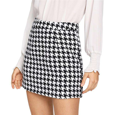 Zip Back Houndstooth Tweed Short Black And White Mini Skirt