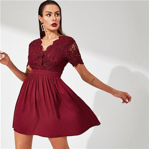 Burgundy Contrast Lace Bodice Fit and Flare V Neck Dress