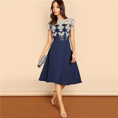Navy Embroidered Mesh Bodice Fit & Flare Short Sleeve Round Neck A Line Dress