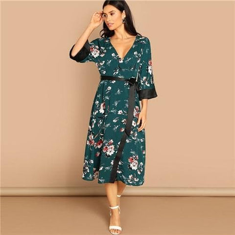 Green Contrast Cuff and Belt Floral Wrap V Neck Half Sleeve Dress