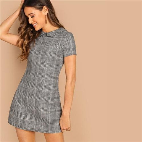 Grey 100% Cotton Peter-Pan-Collar Plaid Short Sleeve Flared Dress