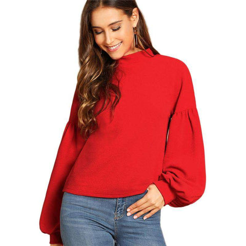 Button Back Balloon Sleeve Long Sleeve Red Top