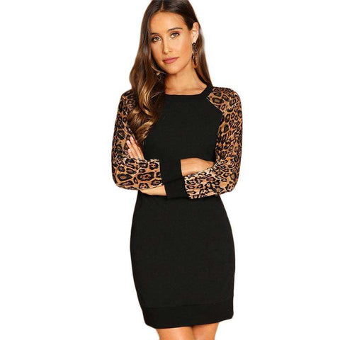 Leopard Raglan Sleeve Black Mini Dress