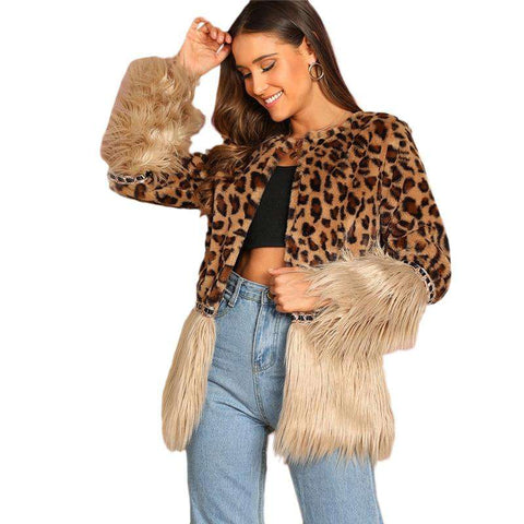 Contrast Faux Fur Leopard Print Long Sleeve Winter Jacket