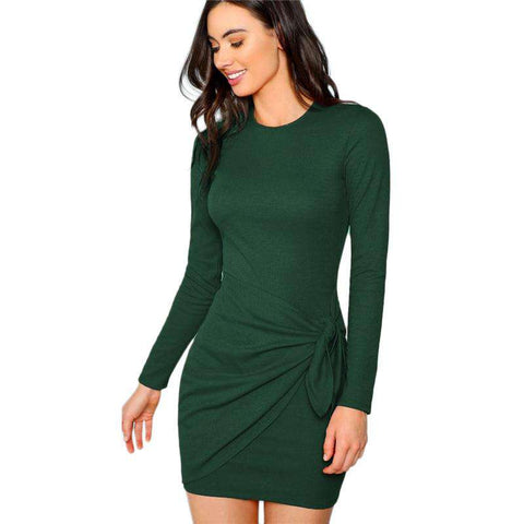 Army Green Knotted Wrap Front Fitted Long Sleeve Dress