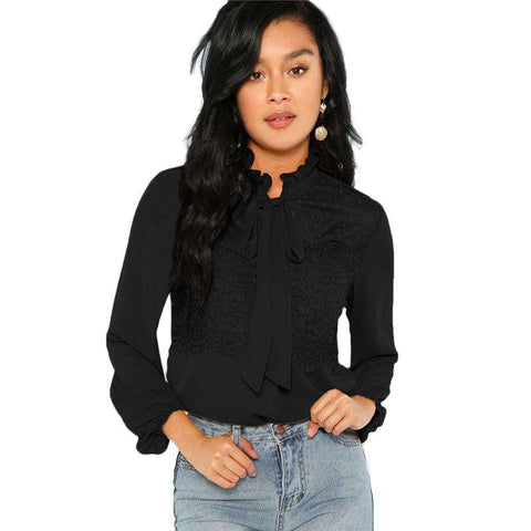 Tie Neck Contrast Lace Ruffle Long Sleeve Top