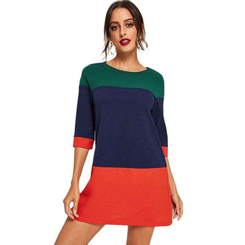 Colorblock Patchwork 3/4 Sleeve Spring Straight Dress