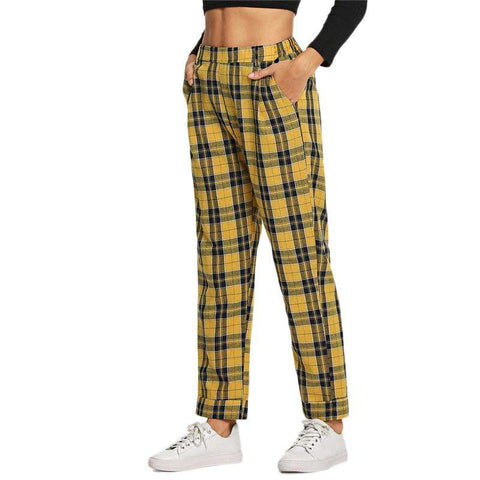 Yellow Plaid Pocket Decoration Straight Leg Winter Pants