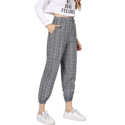 Grey Pocket Elastic Waist Plaid Trousers Pants