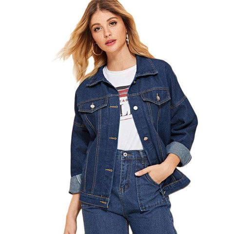 Blue Button Front Single Breasted Denim Jacket