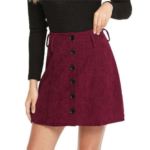 Burgundy Single Breasted A Line Mid Waist Corduroy Skirt
