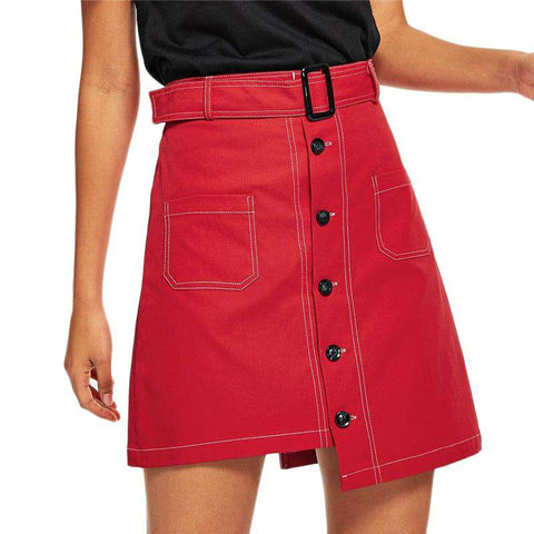 Red Single Breasted Dip Hem Belted A Line Asymmetrical Skirt