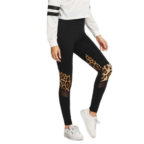 Black Mesh Leopard Print Long Sporty Leggings