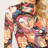 Mock Neck Figure Print Long Sleeve Slim Fit Pullovers Top