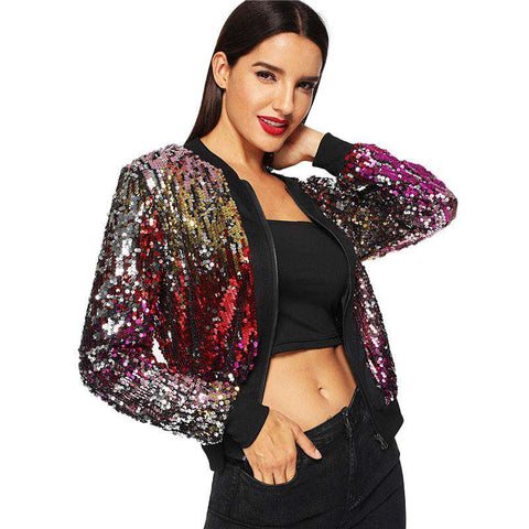 Zip-Up Sequin Crop Winter Jacket