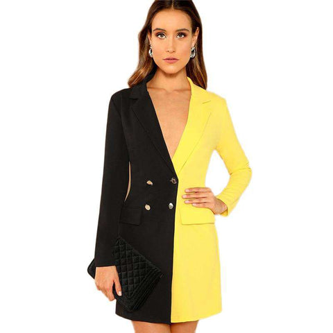 Two Tone Double Breasted Notched Neck Long Sleeve Mini Dress