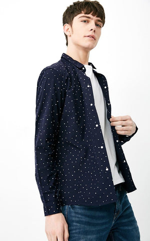 Jack & Jones COTTON Comfortable Polka Dot Turn-down Collar Full Length Sleeve Shirt