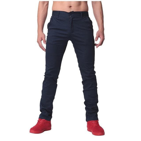 Button Slim Fit Leisure Chinos Stylish Straight Trousers