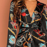 Multicolor Waist Knot Chain Print V-Neck Long Sleeve Jumpsuits