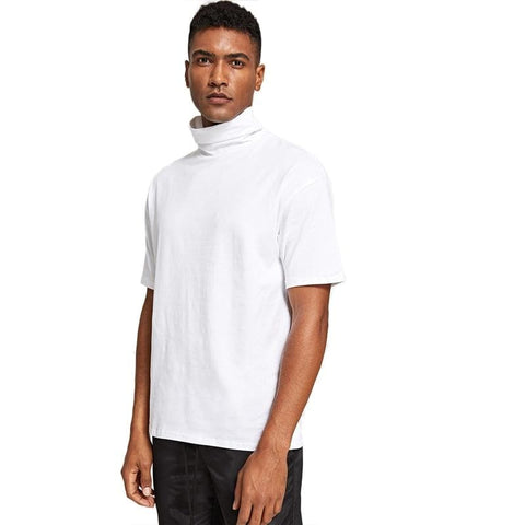 White Minimalist High Neck Half Sleeve Regular Fit Pullovers Tee