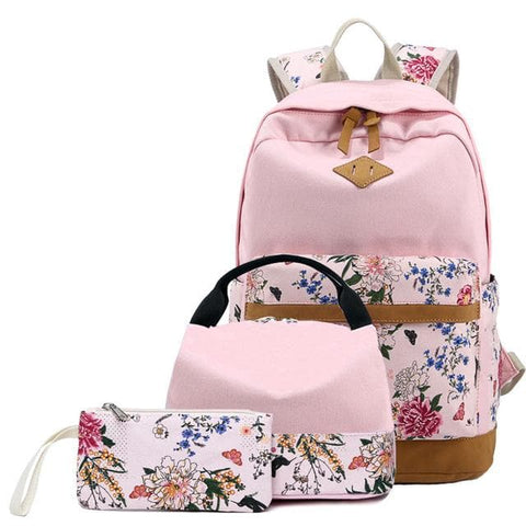 3pcs/set Floral Canvas Printing Backpack