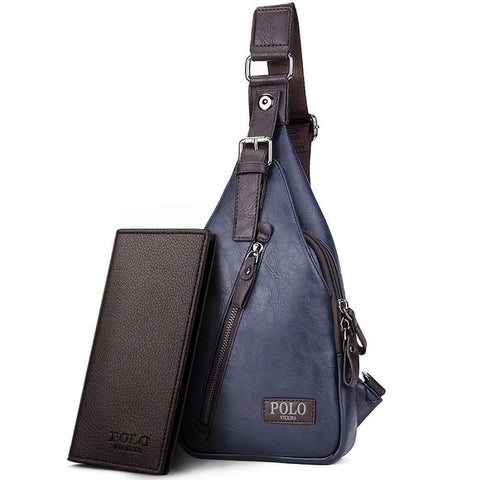 Theft Proof Magnetic Button Open Leather Crossbody Messenger Bag