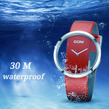 Luxury Fashion Casual 30 m Waterproof Genuine Leather Strap Quartz Watch