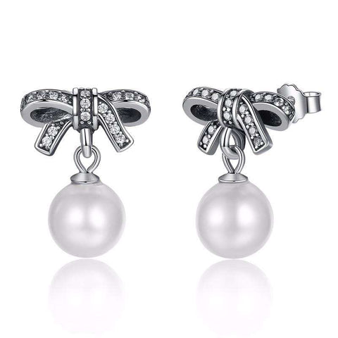 High Quality 100% 925 Sterling Silver Graceful Bow Knot & White Pearl Drop Earrings