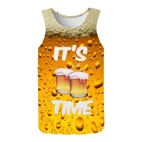 Summer Fashion 3D Printed Sleeveless Top Leisure Sports Vest Top Tee