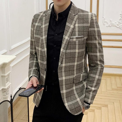 Fashion Lattice Slim Fit Blazer