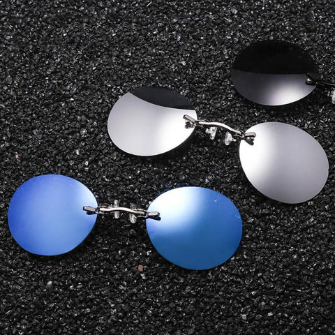 Vintage Mini Round Matrix Morpheus Rimless UV400 Fashion Clip On Nose Sunglasses