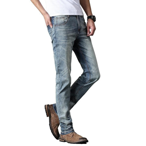 Regular Fit Straight Retro Stonewashed Denim Jeans