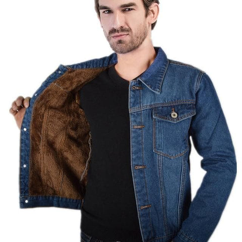 Warm Fleece Fur Lined Denim Jacket