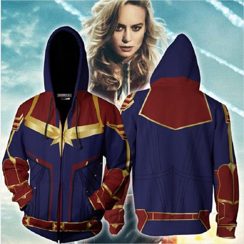 3D Printed Captain Marvel Cosplay New Look Zip Up Hooded Sweatshirt